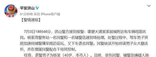 武汉男子驾车袭警后被开枪制服 目前是什么情况?